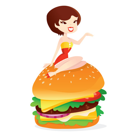 A vector illustration of a retro pin up girl sitting on a large hamburger.
