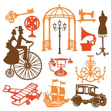 Een vectorillustratie van document sneed elementen van het silhouet de uitstekende die victorian ontwerp als antieke voorwerpen, uitstekende auto's en huispunten worden geplaatst. Stock Illustratie