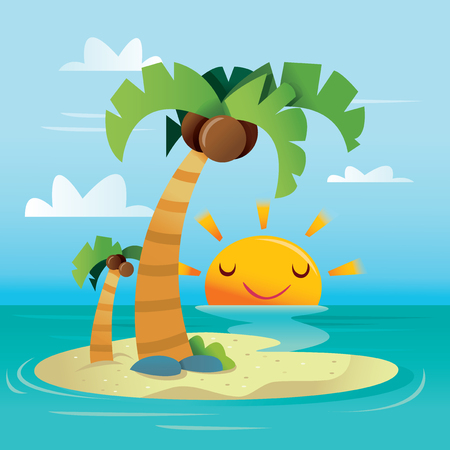 A cartoon vector illustration of a happy sunny tropical island.