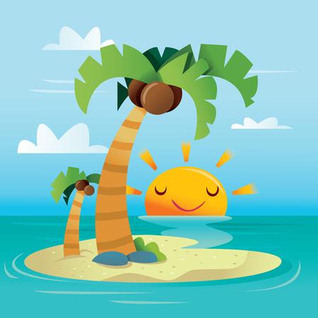 A cartoon vector illustration of a happy sunny tropical island.