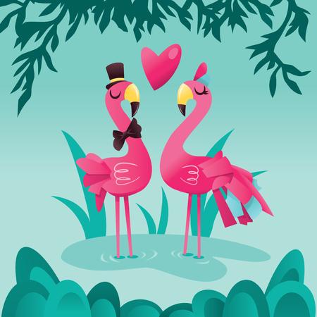 熱帯湖バック グラウンドでかわいいピンクのフラミンゴのペアの漫画のベクトル イラスト。