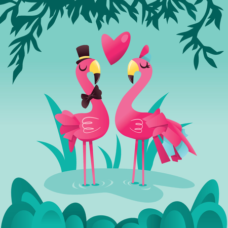A cartoon vector illustration of a pair of cute pink flamingos in a tropical lake background.