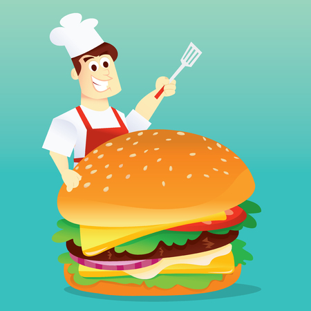 A cartoon vector illustration of a happy chef holding a spatula behind a large hamburger. 向量圖像