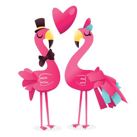 孤立した白い背景に対して愛のかわいいピンクのフラミンゴのペアの漫画のベクトル イラスト。  イラスト・ベクター素材