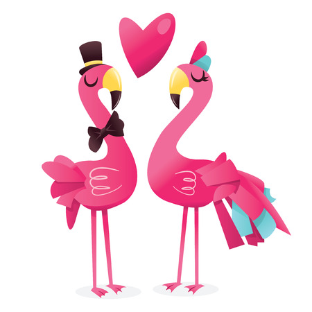 A cartoon vector illustration of a pair of cute pink flamingos in love against isolated white background.