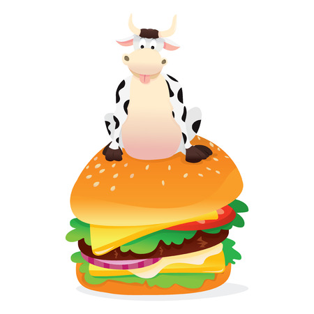 A vector illustration of a happy cartoon cow sitting on a large hamburger. Ilustrace