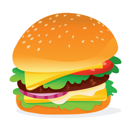 A vector illustration of a colorful cute cartoon hamburger.