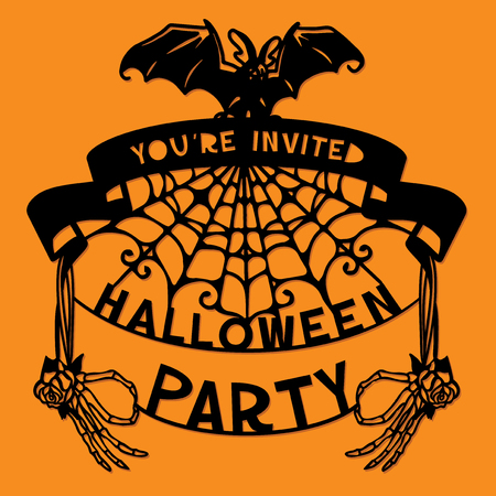 A vector illustration of a paper cut silhouette halloween party invitation banner. The halloween banner is made of pumpkin, skeleton hands and lettering. Çizim
