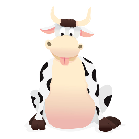 A cartoon vector illustration of a black and white spotted happy cartoon milk cow sitting down.