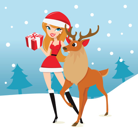 A cartoon vector illustration of a sexy girl in santa costume with a gift and a reindeer in a winter snowy scene. Illustration