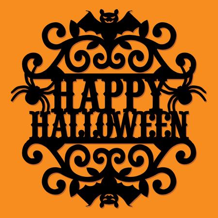 Une illustration vectorielle d'un papier coupé silhouette joyeux halloween vintage tourbillon fleuri. Banque d'images - 86799246