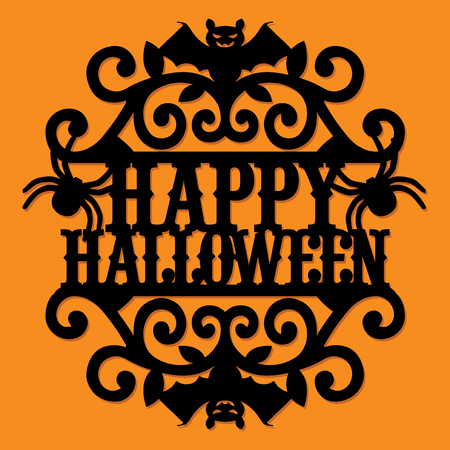 A vector illustration of a paper cut silhouette happy halloween vintage ornate swirl.