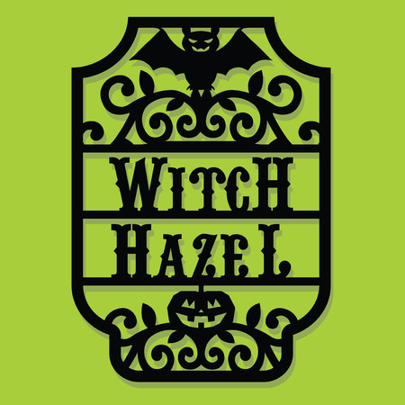 A vector illustration of a paper cut silhouette halloween witch hazel vintage frame label. Illusztráció