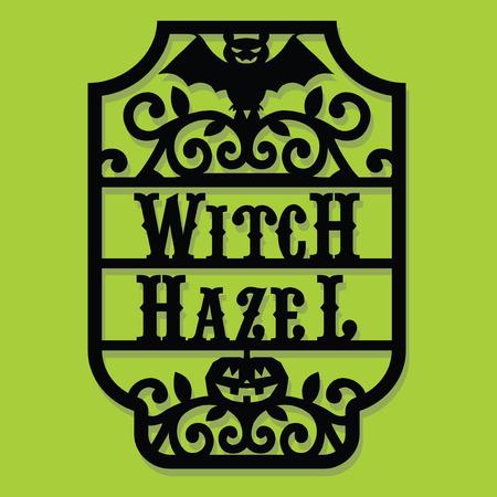 Een vector illustratie van een papier gesneden silhouet halloween heks hazelaar vintage frame label.