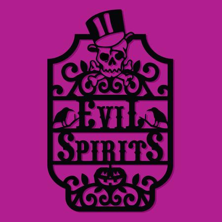 A vector illustration of a paper cut silhouette halloween evil spirits vintage frame label. Çizim