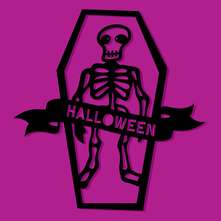 A vector illustration of a paper cut silhouette halloween skeleton in coffin. Çizim