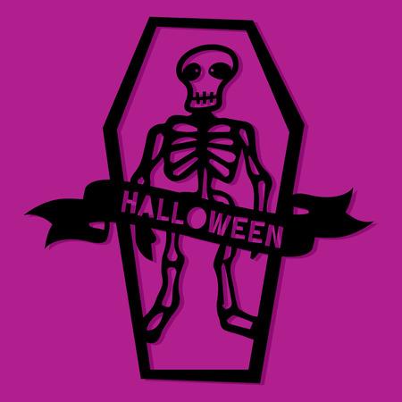 Een vectorillustratie van een document skelet van Halloween van het besnoeiingssilhouet in doodskist.