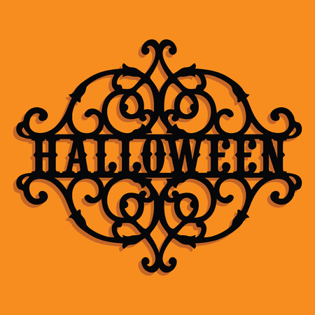 A vector illustration of a paper cut silhouette halloween vintage ornate swirl.