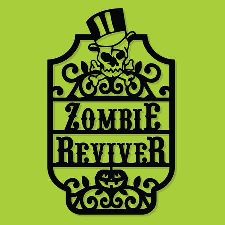 A vector illustration of a paper cut silhouette halloween zombie reviver vintage frame label. Çizim
