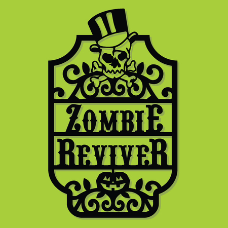 A vector illustration of a paper cut silhouette halloween zombie reviver vintage frame label. Illustration