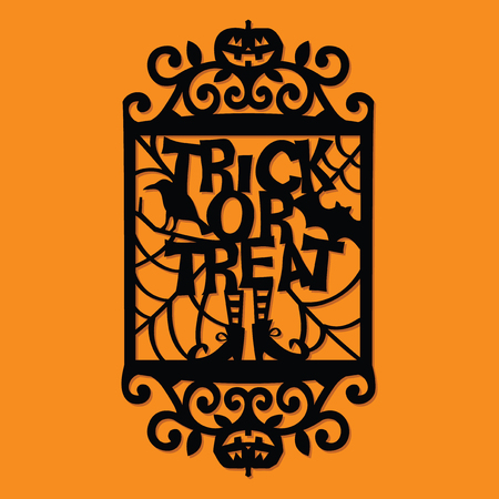 A vector illustration of a paper cut silhouette halloween trick or treat ornate frame.
