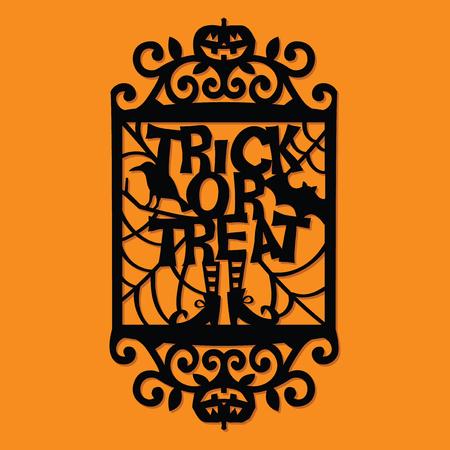 Een vector illustratie van een papier gesneden silhouet halloween trick or treat sierlijke frame. Stock Illustratie
