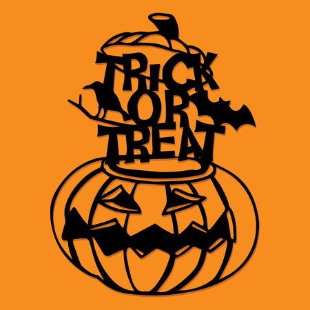 A vector illustration of a paper cut silhouette halloween pumpkin trick or treat decoration. Çizim