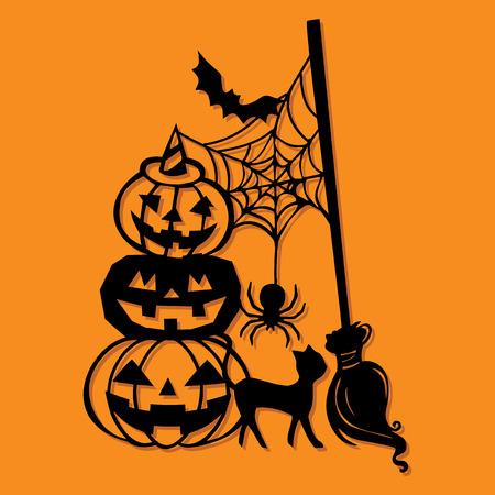 Een vector illustratie van een papier gesneden silhouet halloween pompoen stapel bezemsteel decoratie.