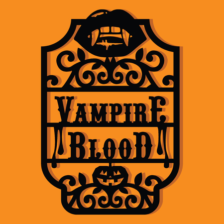 A illustration of a paper cut silhouette halloween vampire blood vintage frame label. lips with fangs Illustration