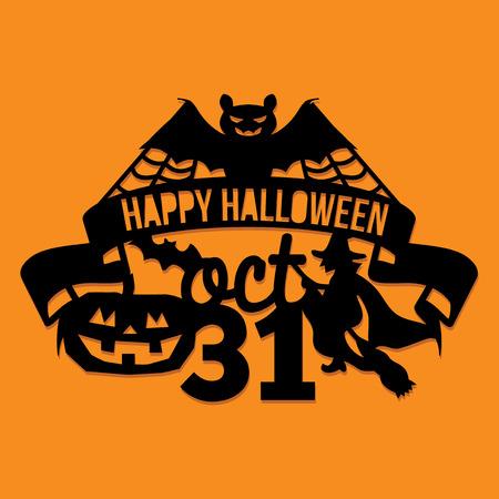 Een vectorillustratie van een document sneed silhouethalloween van de de spinnenwebpartij van de knuppelpartij de uitnodigingsbanner. De halloween-banner is gemaakt van pompoen, vleermuizen, heks en belettering.