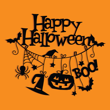 A vector illustration of vintage happy halloween hanging decorations paper cut. Çizim
