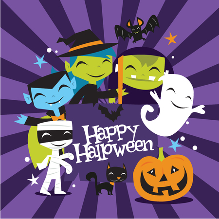A vector illustration of jolly halloween monsters and creatures with happy halloween banner.