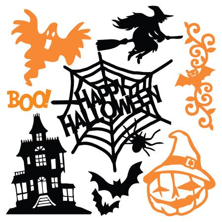 Een vector illustratie van griezelige halloween papier gesneden silhouet set. Dit omvat Halloween-ontwerpelementen zoals hefboom-o-lantaarn, heks, spook en spookhuis.