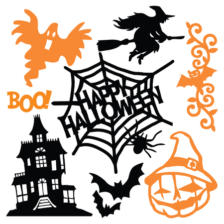 A vector illustration of eerie halloween paper cut silhouette set. This includes halloween design elements like jack-o-lantern, witch, ghost and haunted house.