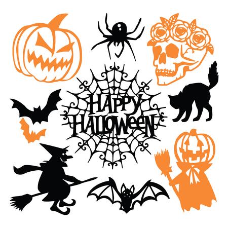 Een vector illustratie van een gotische halloween papier gesneden silhouet set. Dit omvat pompoen, spin, schedel met bloemen, vleermuizen en meer. Stock Illustratie