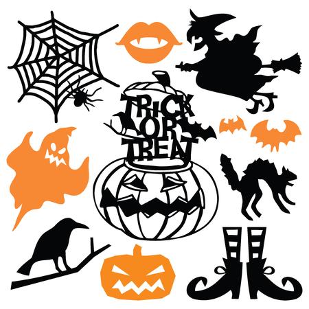 Eine Vektorillustration des betörenden gespenstischen Halloween-Papierschnitt-Schattenbildsatzes. Dazu gehören Ghost, Hexe auf Besenstiel, Kürbis und weitere Halloween-Designs. Standard-Bild - 88108240