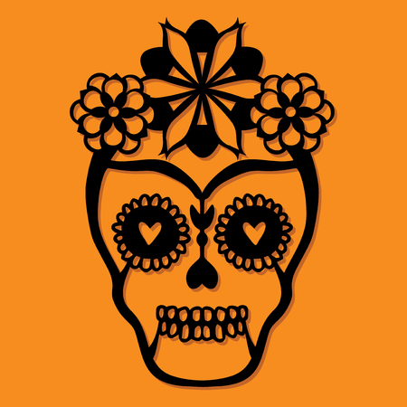 A vector illustration of vintage sugar skull paper cut silhouette