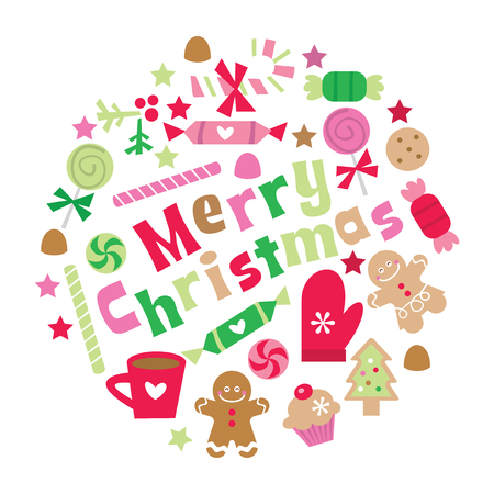 A vector illustration of retro whimsical merry christmas phrase with christmas treats, sweets and decorations.