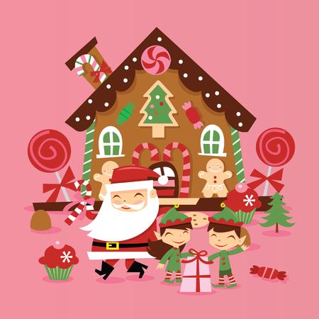 Eine Vektorillustration des super netten Retro- Weihnachtsmanns und seiner Elfen vor whimiscal Lebkuchenhaus mit Geschenken und Süßigkeiten. Standard-Bild - 88307334