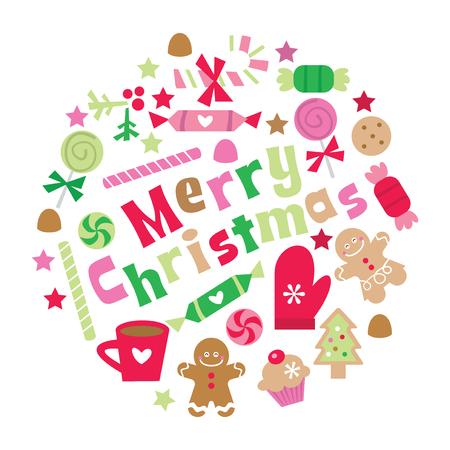 Een vectorillustratie van retro capricieuze vrolijke Kerstmisuitdrukking met Kerstmis behandelt, snoepjes en decoratie.