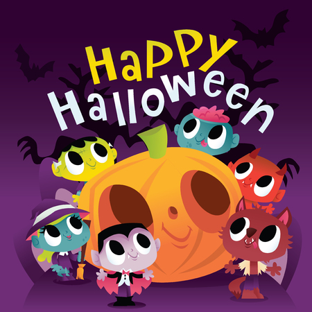 A vector illustration of a bunch of super cute halloween monsters and ghouls with happy halloween text. Different monsters like vampire, werewolf and zombie are surrounding a big halloween pumpkin at night. Illustration