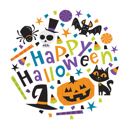 A vector illustration of fun retro haunted happy halloween phrase with trick or treat design elements like halloween candies, pumpkin, cat, and more.
