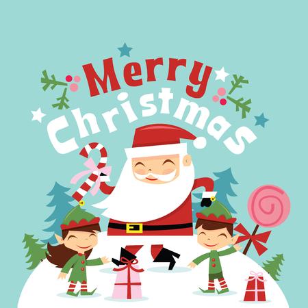 Een vectorillustratie van de super leuke retro Kerstman en zijn elf samen met vrolijke Kerstmisuitdrukking die hierboven in de scène van het de wintersprookjesland drijven.