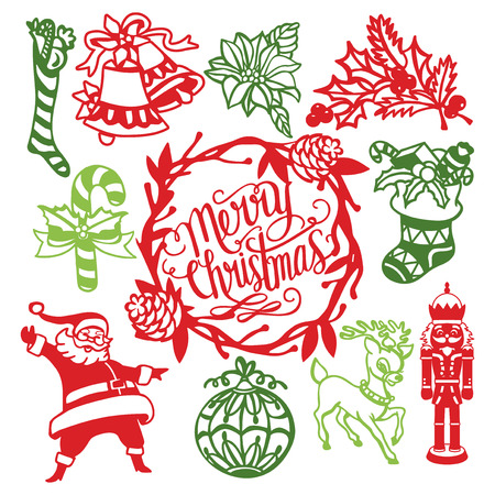벡터 일러스트 레이 션의 모듬 된 빈티지 크리스마스 장식품 종이 잘라 디자인 일러스트