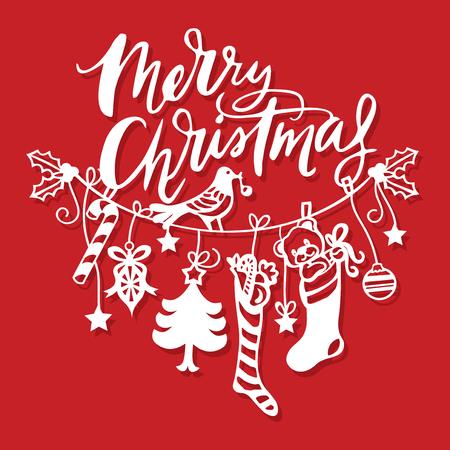 Een vector illustratie van vintage vrolijk Kerstmis opknoping lijn decoraties papier gesneden gevuld met snoepjes, ornamenten en kousen. Stock Illustratie