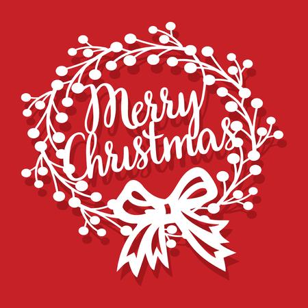 リボン弓紙とヴィンテージのメリー クリスマス リースのベクトル イラスト カット。