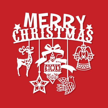 Un'illustrazione di vettore di un taglio d'annata della carta delle decorazioni di Buon Natale d'annata. Archivio Fotografico - 88602837
