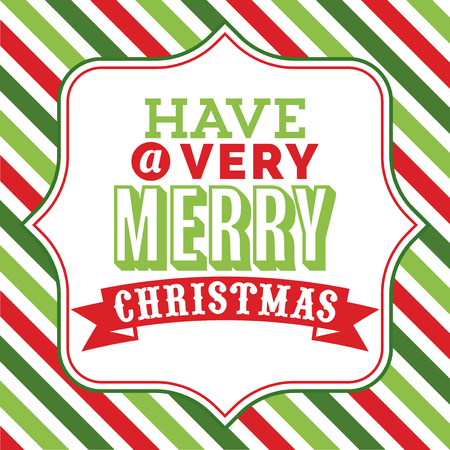 A vector illustration of christmas word art with have a very merry christmas phrase on a fancy frame against a colorful christmas theme stripe background. Çizim
