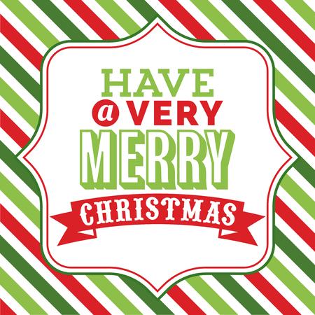 Word アート クリスマス テーマのカラフルなストライプ背景に対して派手なフレームに非常にメリー クリスマス フレーズがあるクリスマスのベクト