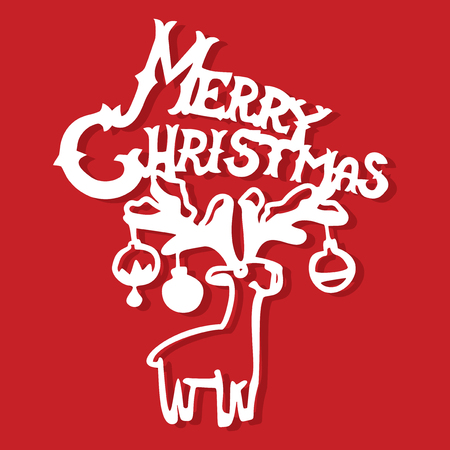 A vector illustration playbill merry christmas reindeer with ornaments paper cut